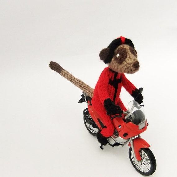 Biker meerkat with red and black BMW Motorbike, motorbiker, knitted meerkat, knitted biker, knitted motorbiker, ooak