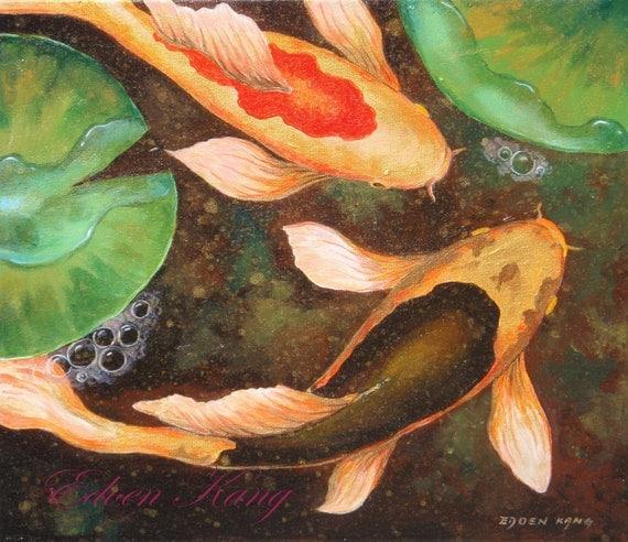 Koi original acrylic painting golden pond size 12 x for Koi fish pond size
