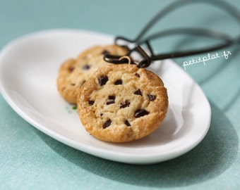 Cookie Earrings - Chocolate Chip Biscuit - Food Jewelry