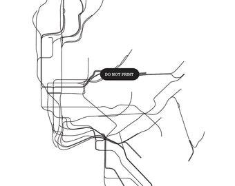 NYC Subway Map ( RAT VERSION )  - 8.5 x 11 Print