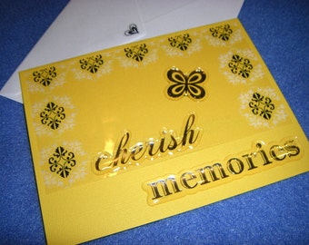 Cherish Memories blank card - damask and butterfly