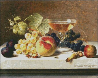 STILL Life With GRAPES And PLUMS cross stitch pattern  No.634