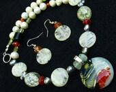 Dichroic Glass pearl peridot carnelian necklace earring set