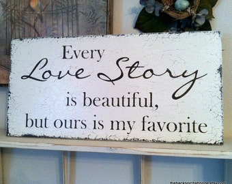 LOVE STORY Vintage Chic Wedding Signs 12 x 24