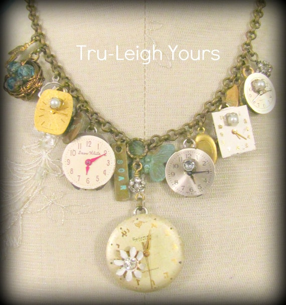 Things that fly - Shabby Chic, French Inspired, Boho Gypsy Jewelry - Vintage Statement Necklace