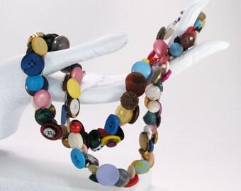 Colorful Necklace - Vintage Buttons - OOAK