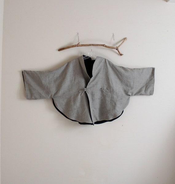 custom oversized reversible linen cape coat