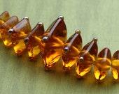 AZ Lampwork Handmade Amber Square Disc Glass Beads BHV SRA