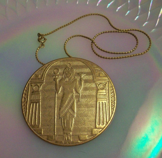 White Washed Brass Egyptian Pharaoh Vintage Art Nouveau or Art Deco Pendant Round Stampings 62mm or 2 and 3/8""