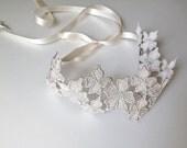 Silver metallic lace flower bridal headband or sash belt,wedding