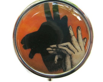 Billy Goat Pill Box Stash Case Silver Shadow puppet