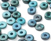 CLOSING SHOP - 50 Blue Coconut Donut Beads - 9mm - B790