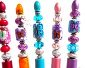 Glass Beaded Pens, Red Orange Aqua Pink Blue Black  Pens, Colorful Writing Utensils, Polymer Clay Pens, Mother's Day Gift