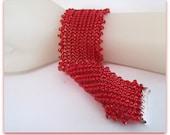 Herringbone Bracelet,  Red Beadwoven Beaded  Bracelet,  7 Inch  Length, Red Bracelet,  Handmade,  Slide  Clasp Item #850
