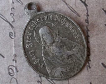 Very Old German Aluminum Scapular Sacred Heart Of Jesus And Our Lady of Mt. Carmel