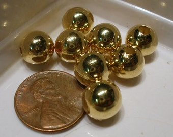 Gold Plated Round Smooth 10mm Beads 100 pc Heavy solid metal