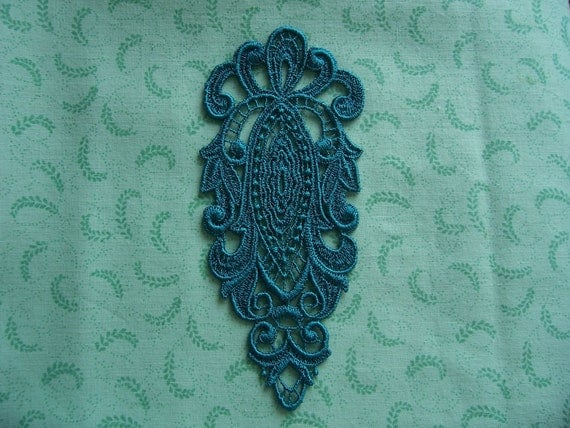 Teal Large Lace Applique/ Clothing/ Jewelery/ Lingerie/ Costume