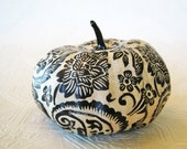 Pumpkin Ornament, Squash Ornament, Halloween Ornament, decoupage ornament, black and white pumpkin, paisley fall autumn thanksgiving