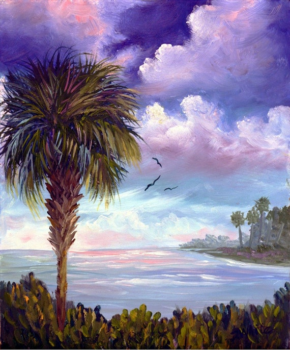 Items similar to florida tropical palm tree sunrise for Painting palm trees