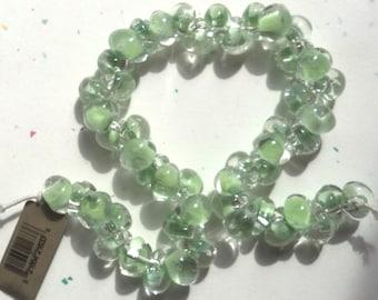 10 Light Green Teardrop Handmade Lampwork Beads - 10mm (21633)
