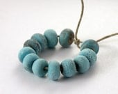 Twelve Turquoise Lampwork Organic Rock Beads Grungy Rustic