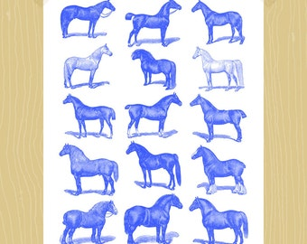 Horses Print Farm Animal Barnyard Printable 5 x 7 Blue Equestrian Digital Print Nursery Children Kids