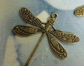 Brass Ox Plated Ornate Dragonfly Connectors 999BOX x4