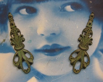 Verdigris Patina Brass Art Nouveau Drop Dangles 2166VER x2