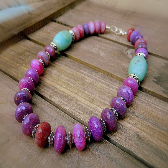 Butterfly Wings, Western Cowgirl Southwestern Faceted Agate Stone Necklace