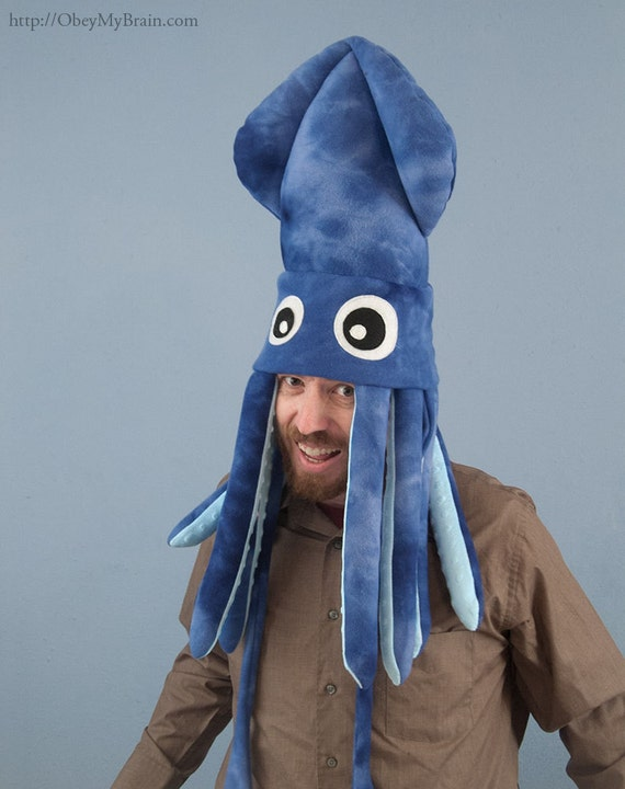 Fleece Squid Hat - Large Blue Tie-Dye Plush
