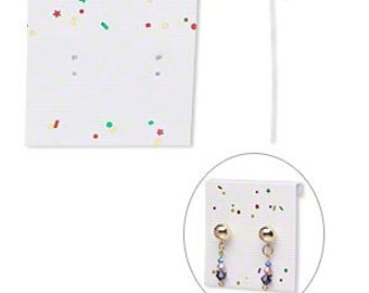 50 Pack Rainbow Confetti White Large 2x2 Inch Paper Hanging Earring Cards