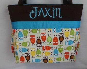 Bermuda OWLs ... Turquoise Accent...  DIAPER Bag ...  Personalized Free . . Bottle Pockets