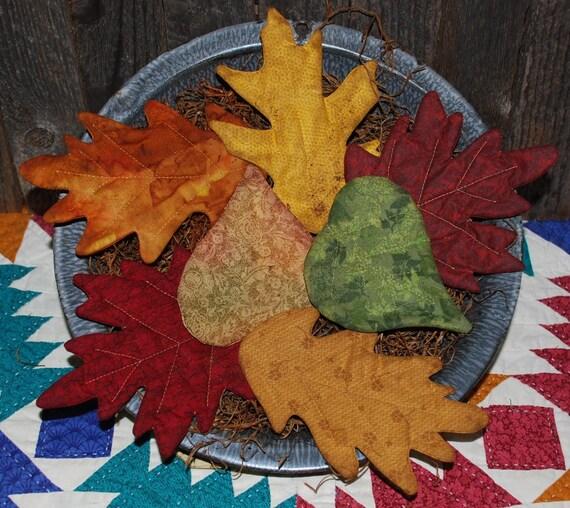 Primitive Fall Leaves Tucks Beautiful Autumn Colors Ornies Bowl Fillers