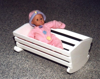 Custom Wooden Doll Cradle with optional personalization