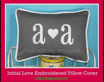 Initial Love - Embroidered Pillow Cover  - 12 x 16