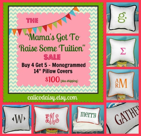 "SALE - Buy 4 Get 5 - 14"" Square or 12"" x 16"" Lumbar Monogrammed Piped Pillow Covers"