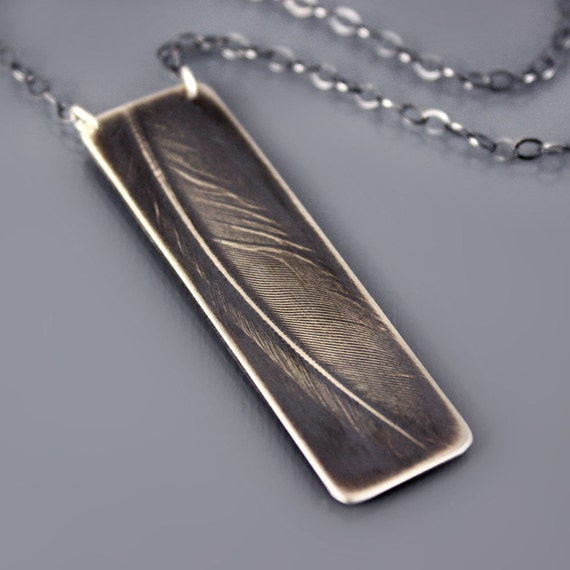 Feather Necklace - Sterling Silver Feather Jewelry