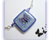 "Jewelry SALE Butterfly Nature Pendant 20"" chain Necklace, polymer clay"