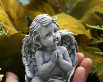 Concrete Angel Statue - Baby Angel Sculpture - Garden Cherub