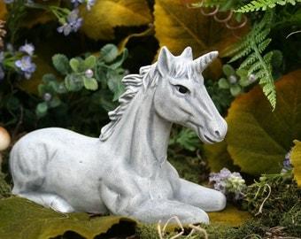 Unicorn Statue - Fairy Garden Decor - Concrete Art