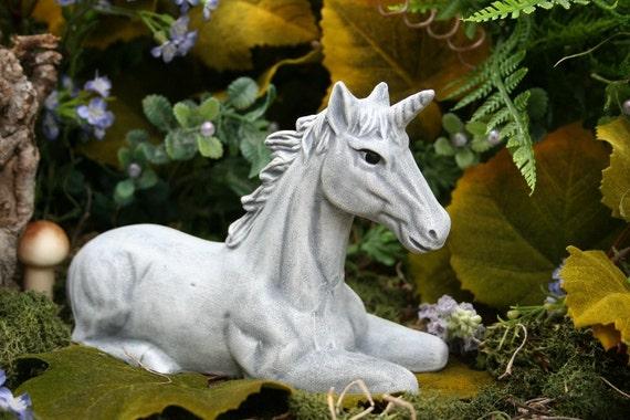 Gnome Garden: Unicorn Statue Fairy Garden Decor Concrete Art By PhenomeGNOME