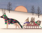 12 Christmas cards: German shepherd family goes for holiday sled ride / Lynch folk art