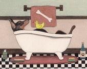Doberman pinscher (dobi) fills a tub at bath time / Lynch signed folk art print