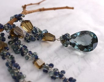 London Blue Topaz Necklace with Sapphires and Cognac Quartz in 14K Solid Gold - OOAK - SALE 50% Off