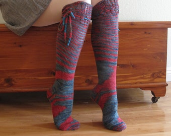 Knee High Socks Turquoise blue and Red and Brown Lace Merino Wool with Ties hand knit Women