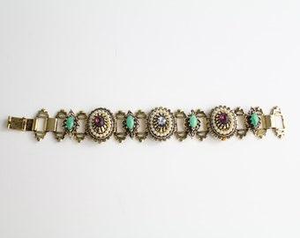 Victorian Revival Bracelet | Vintage Rhinestone and Pearl Bracelet | Goldtone Metal Costume Jewelry
