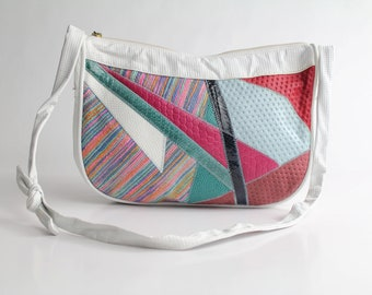 geometric leather purse   vintage coloblock leather bag   1980s slouchy hobo