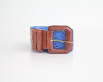 Vintage 80s Wide Leather Belt | Woven Cotton Leather Belt | Preppy Belt | XS-S