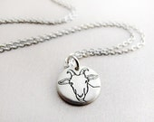 Tiny  dairy goat necklace, silver, Capricorn, goat jewelry, gift for her, gift for wife, girlfriend gift