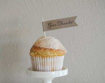 Give Thanks - Cupcake flags